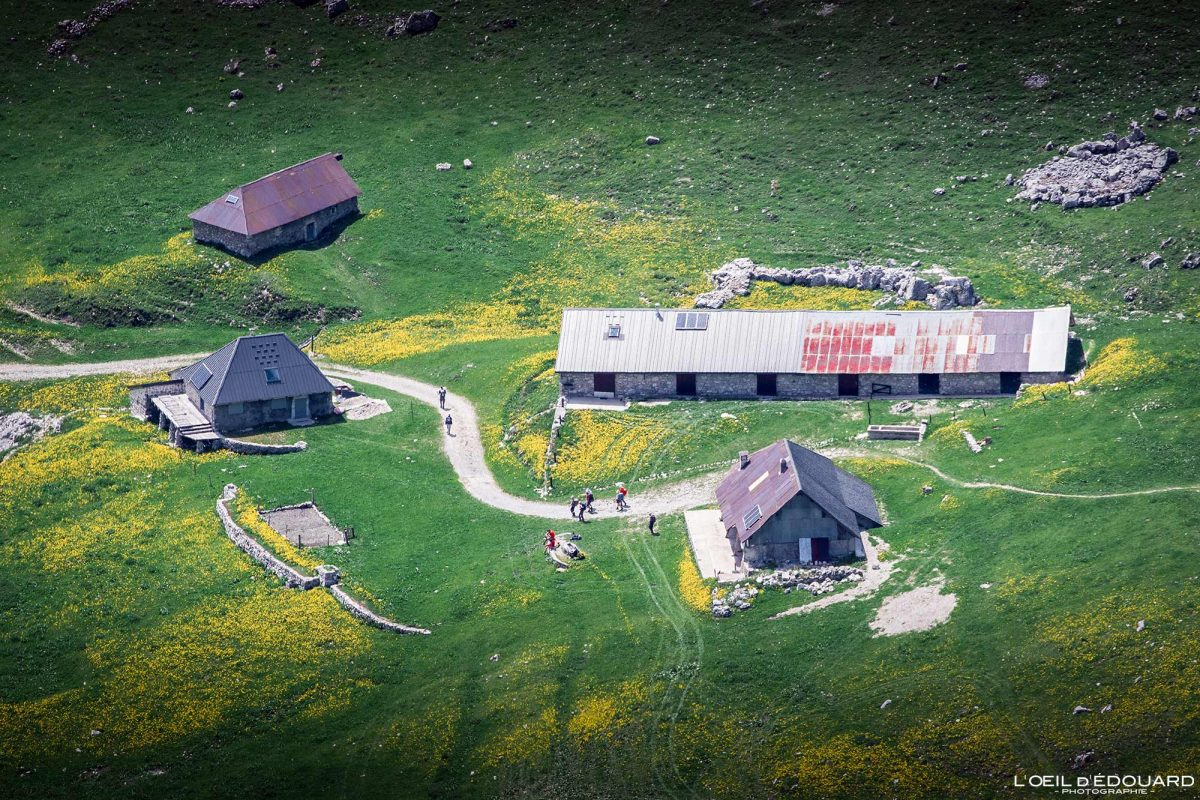 Le Chalet d'Orgeval, vista do topo da Pointe de Chaurionde - Caminhada Massif des Bauges Alpes Savoy França Paisagem Montanha - vista de cima Casa paisagem montanhosa Alpes franceses Excursões ao ar livre Caminhada
