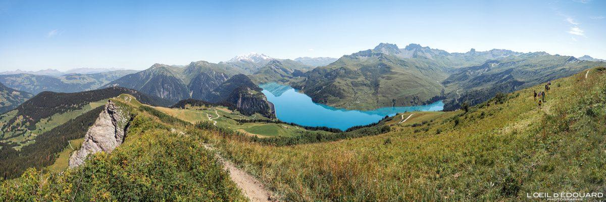 Vista panorâmica de Roche Parstire no maciço Lac de Roselend du Beaufortain Alpes Savoie França Paisagem Montanha - Paisagem Montanha Lago Alpes franceses Caminhadas ao ar livre Caminhadas