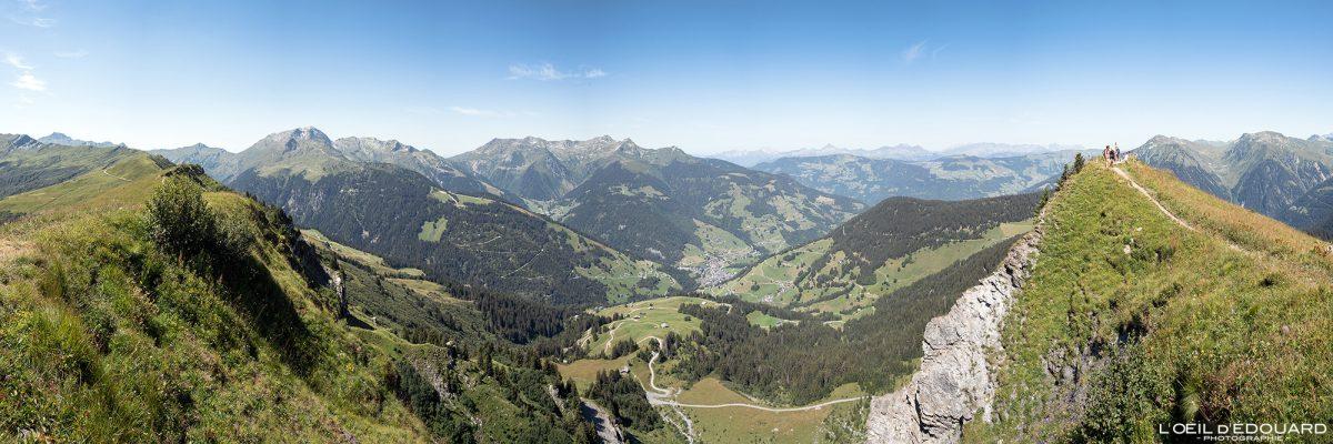 Vista panorâmica do Roche Parstire em Arêches Maciço de Beaufortain Alpes de Savoy França Paisagem Montanha - Paisagem Montanha Lago Alpes franceses Caminhada Caminhada Caminhada