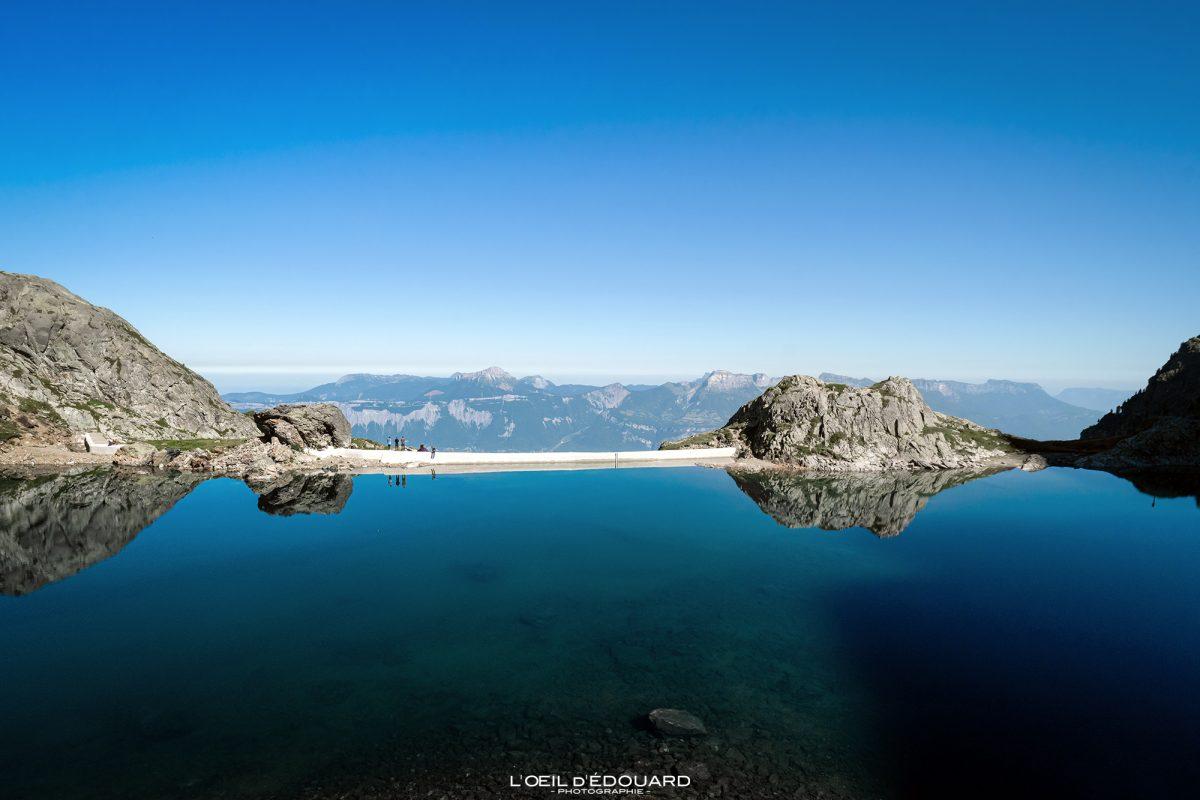 Barrage du Lac du Crozet Belledonne Isere Alpes França Paisagem montanhosa Alpes franceses Lago ao ar livre Paisagem montanhosa