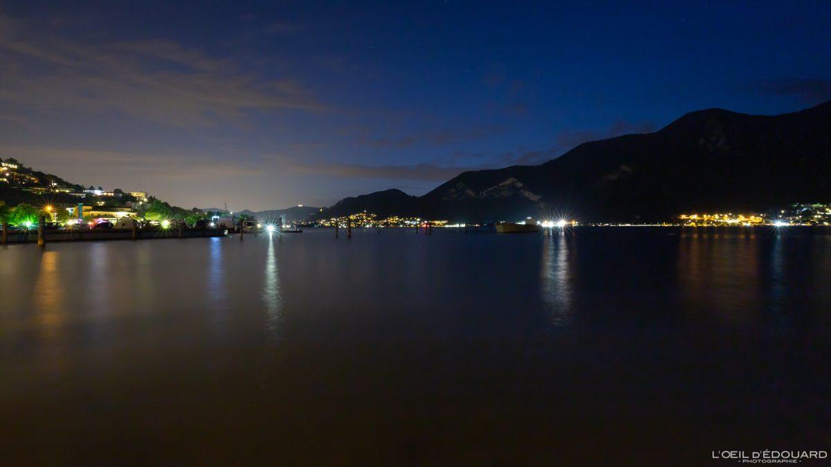Lago Iseo Norte da Itália Grandes lagos italianos à noite - Lago Iseo Itália Norte da Itália Imagem noturna do lago italiano