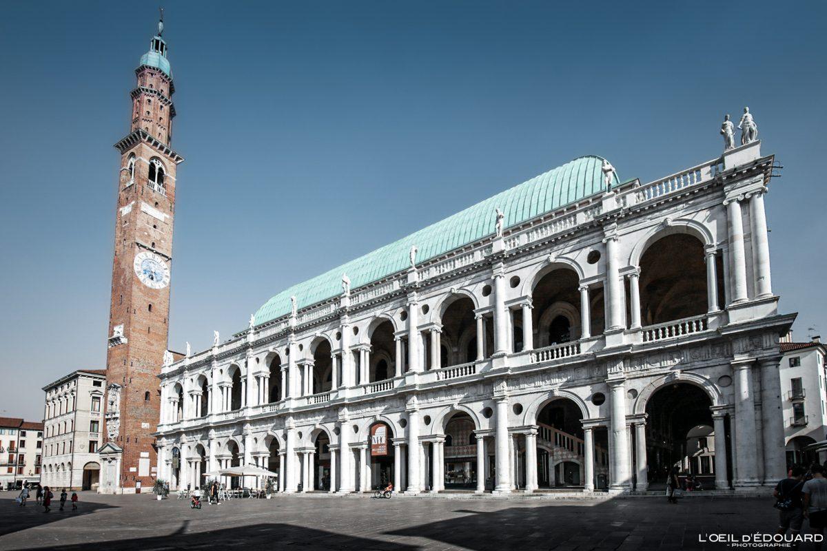 Palazzo della Ragione Basílica Palladiana Vicenza Itália Vêneto - Piazza dei Signori Basílica Palladiana Vicenza Itália Vêneto Itália Arquitetura da torre Edifício italiano Andrea Palladio