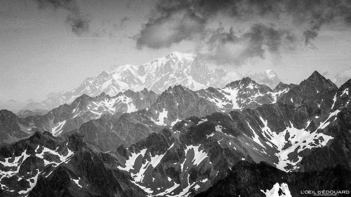 Mont Blanc no topo do Grande Lance de Domène Belledonne Isere Alpes França Paisagem Caminhada Montanha Alpes franceses ao ar livre Paisagem montanhosa