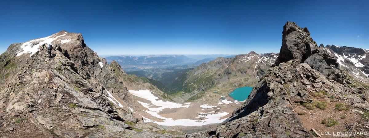 Col du Lac Blanc Caminhada Grande Lance de Domène Belledonne Isère Alpes França Paisagem montanhosa Caminhadas ao ar livre Caminhada Alpes franceses Paisagem montanhosa