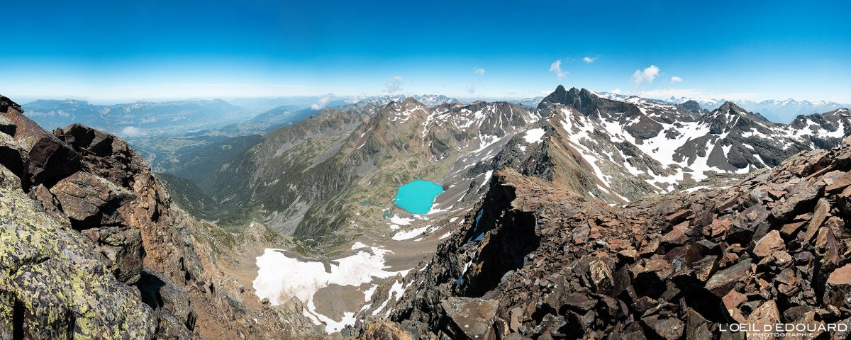 Vista do cume da Grande Lance de Domène Belledonne Isère Alpes França Campo Caminhadas nas montanhas Caminhadas ao ar livre Caminhadas Paisagem dos picos dos Alpes franceses vista panorâmica