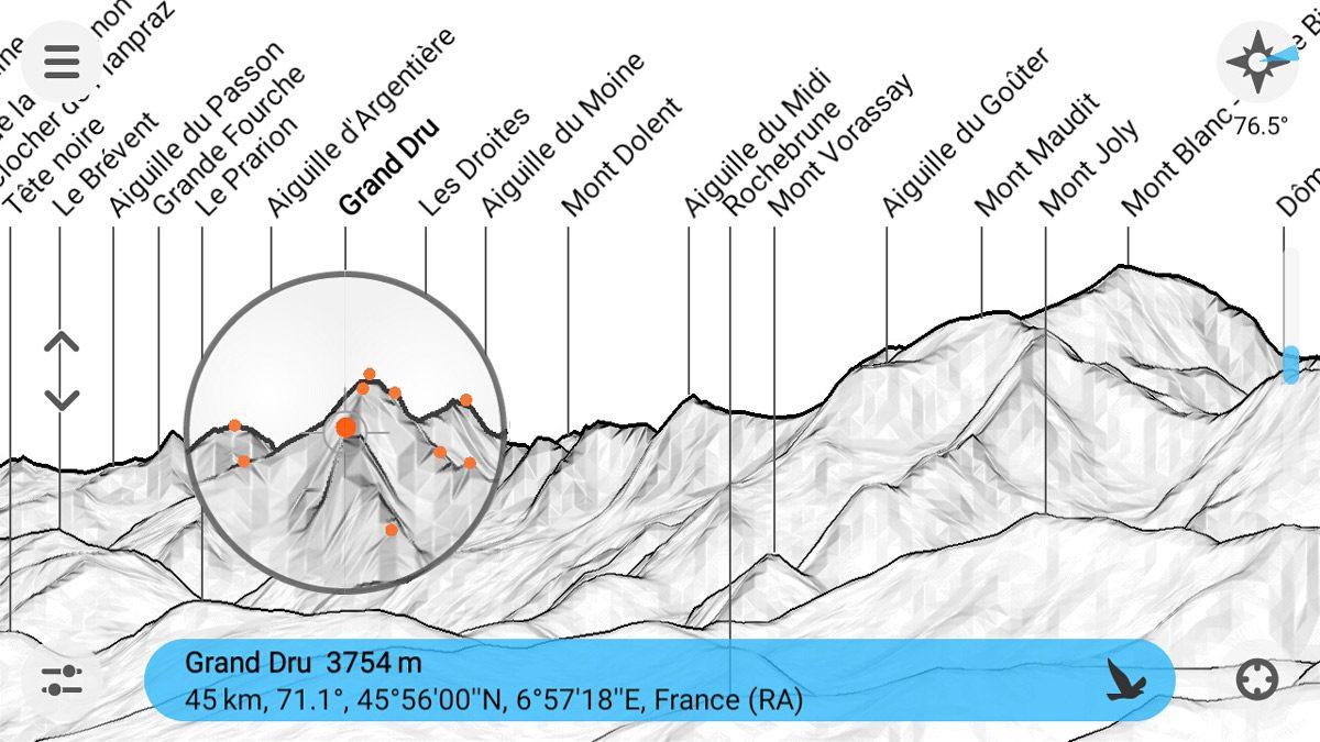 Aplicativo PeakFinder Mountain Name - Captura de tela da ferramenta de telescópio de smartphone (Captura de tela)