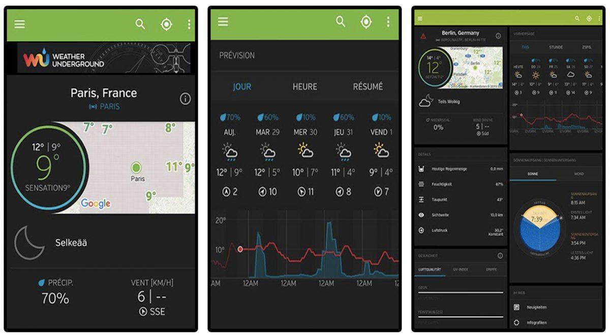 Aplicativo de clima Underground Weather App para smartphones