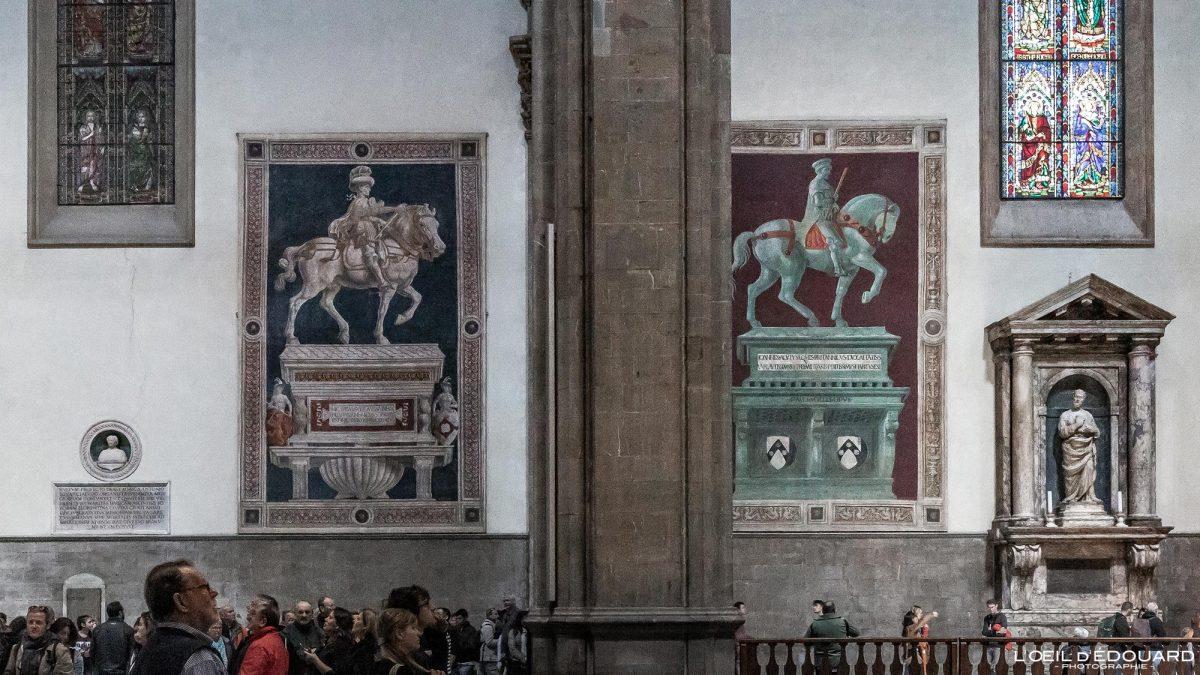 Nave Interior Nave Duomo Florença Toscana Itália - Niccolò da Tolentino Paolo Uccello Fresco Catedral Santa Maria del Fiore Duomo Florença Toscana Itália Toscana Itália Arquitetura Igreja Pintura Artística Renascença