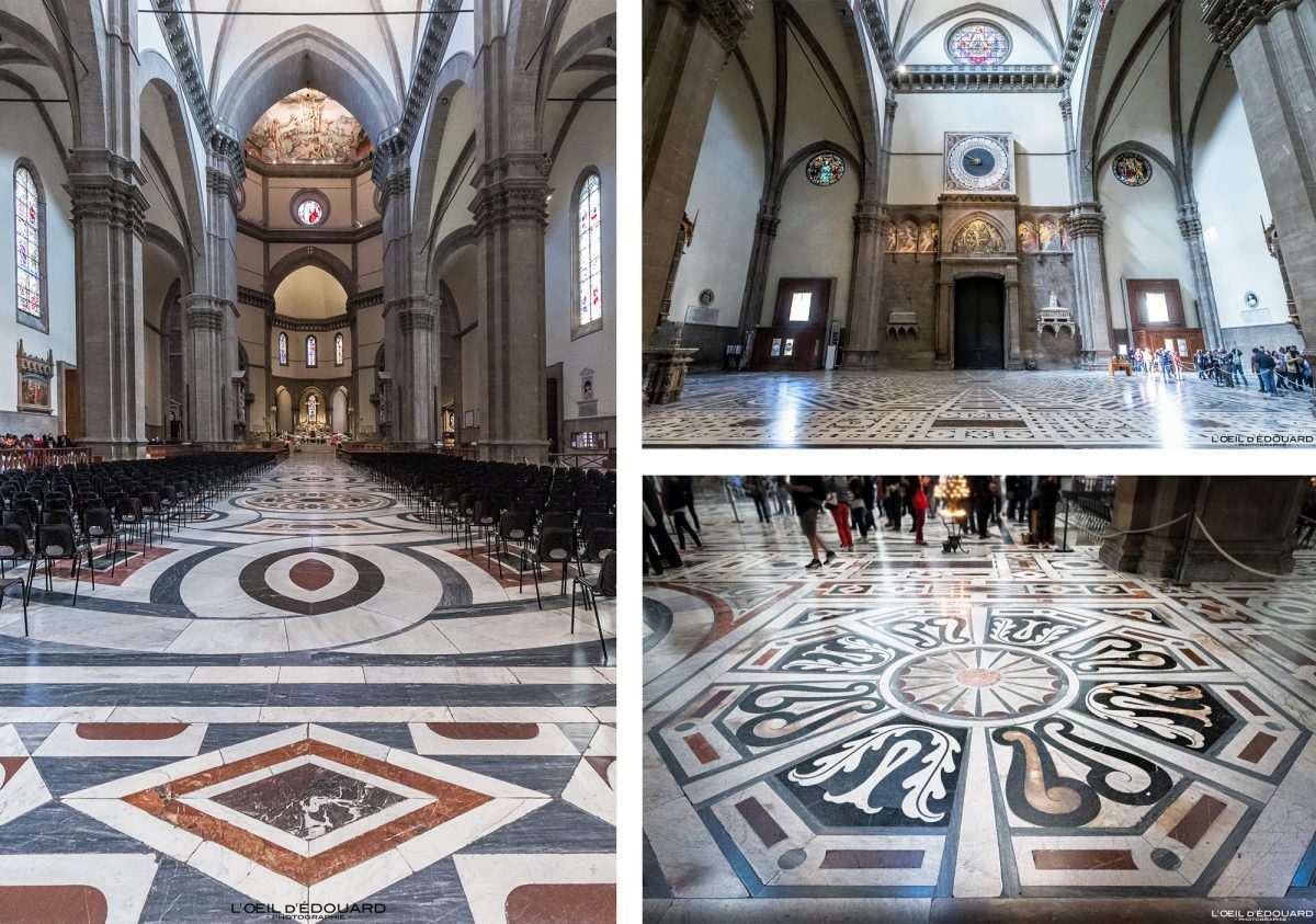 Planta da nave interior da catedral de Florença Toscana Itália - Catedral de Santa Maria del Fiore Duomo Florença Toscana Itália Toscana Itália piso da arquitetura da igreja