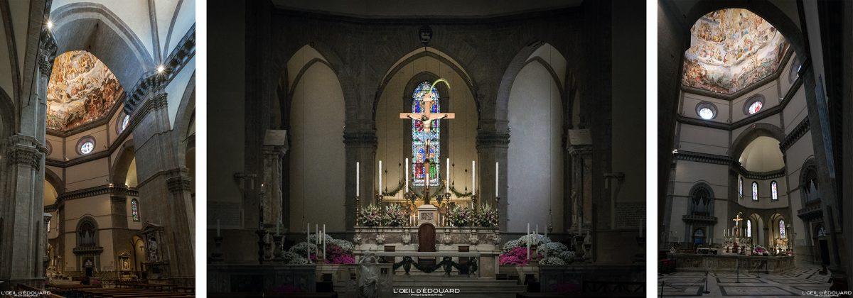 Coro e altar dentro da Catedral de Florença Toscana Itália - Catedral de Santa Maria del Fiore Duomo Florença Toscana Itália Toscana Itália Arquitetura da igreja