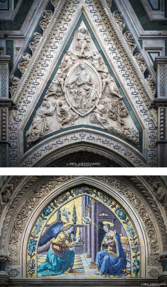Baixo-relevo e mosaico Duomo de Florença Toscana Itália - Catedral Porta della Mandorla do Duomo di Santa Maria del Fiore Florença Toscana Itália Toscana Itália Arquitetura renascentista de igreja