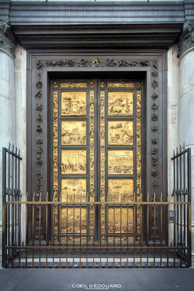 Porte du Paradis Filippo Brunelleschi Batista de San Giovanni Florença Toscana Itália - Portas do Paraíso Batistério de San Giovanni Florença Toscana Itália Cidade Toscana Itália Escultura em porta do céu Arte renascentista