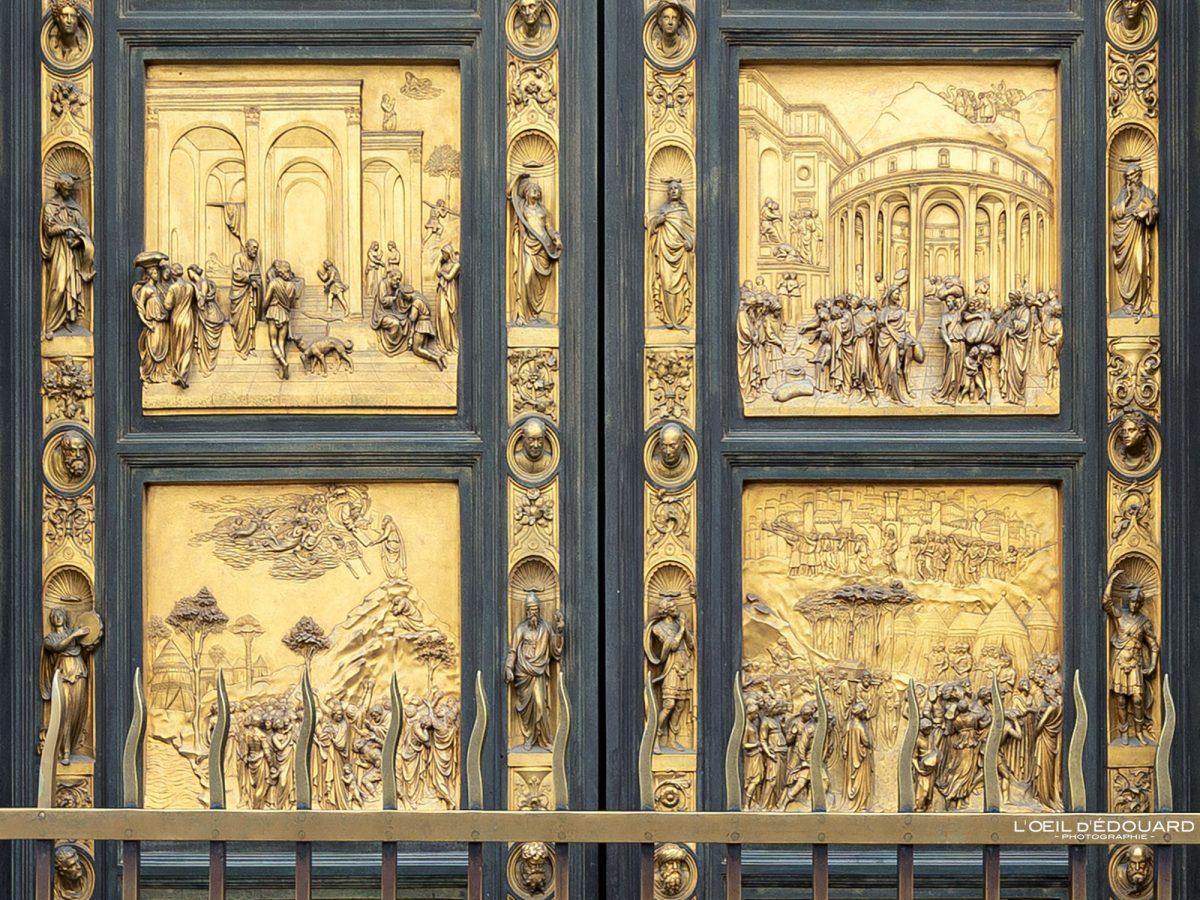 Baixo-relevo Porta do Paradis Filippo Brunelleschi Batistério de San Giovanni Florença Toscana Itália - Porta del Paradiso Batistério de San Giovanni Florença Toscana Itália Cidade Toscana Itália Paraíso Escultura de porta Arte renascentista