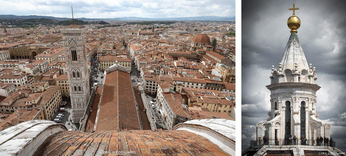 Florença Duomo Toscana Itália: Cúpula Superior da Lanterna de Brunelleschi Arquitetura renascentista - Catedral Santa Maria del Fiore Duomo Florença Toscana Itália Paisagem urbana Toscana Itália