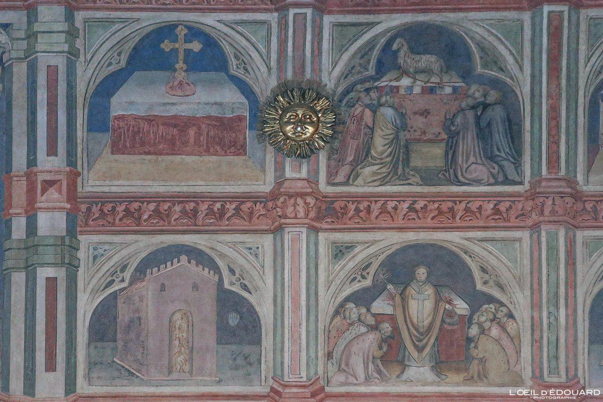 Interior da pintura de afrescos Palazzo della Ragione, Padua Italy - Padua Italy Itália Murais