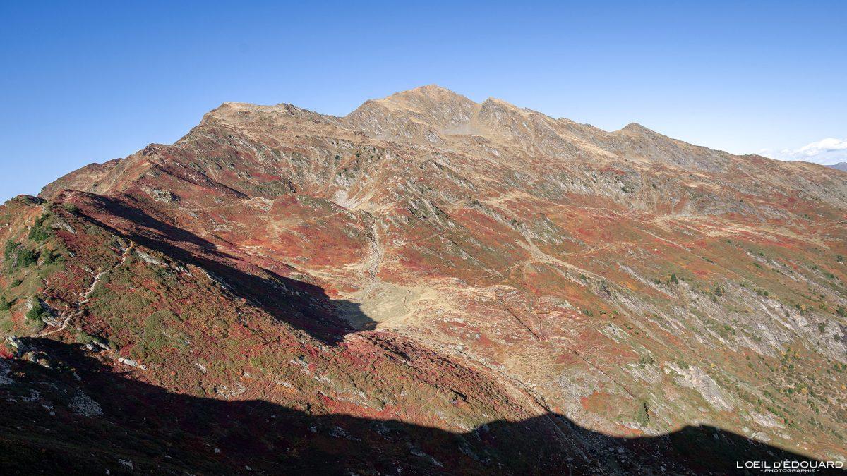 Le Grand Arc Savoie Alps França Caminhada Paisagem de montanha Outono ao ar livre Alpes franceses Paisagem de outono Caminhada nas montanhas