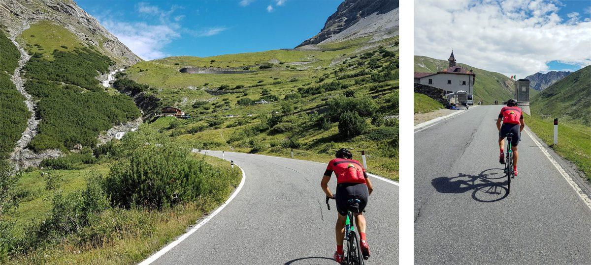 Paisagem montanhosa Alpes Ciclismo Bicicleta Col de Stelvio Itália Alpes Italianos Estrada Paisagem montanhosa Itália Ciclismo ciclismo Itália Passo del Stelvio