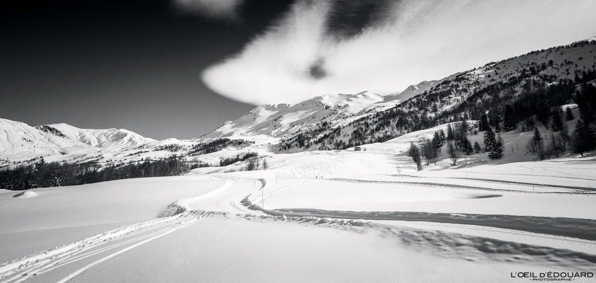 Alpes Franceses Cross Country Grand Naves Maciço de Beaufortain Inverno Montanha Neve Paisagem Montanha Neve França Paisagem de inverno