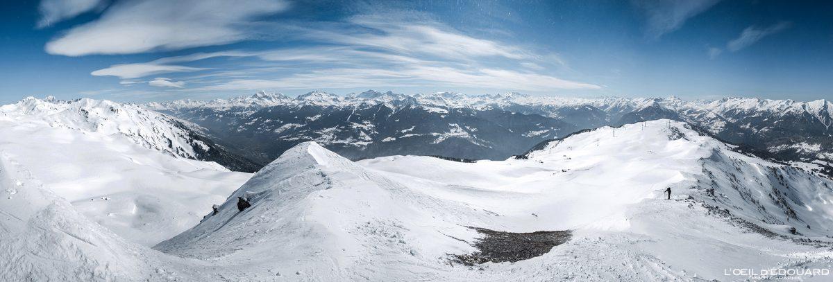 Vista acima Le Quermoz Beaufortain Massif Savoie Alps França Paisagem Montanha Ski Touring Inverno Neve ao ar livre Alpes franceses Paisagem montanhosa Winter Snow Touring