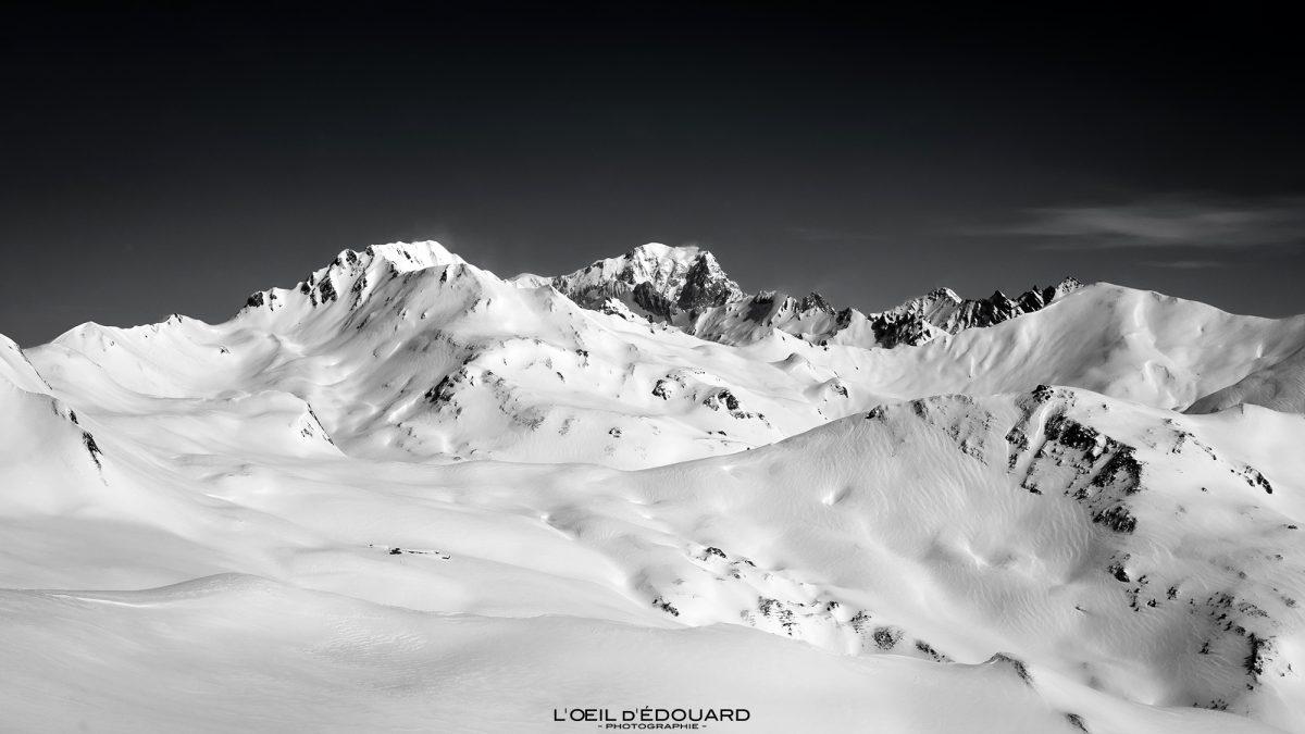 Mont Blanc visto do maciço de Quermoz Beaufortain Alpes de Savoie Paisagem de montanha Neve de inverno Excursão de esqui na França Alpes franceses ao ar livre Paisagem de montanha Neve de inverno