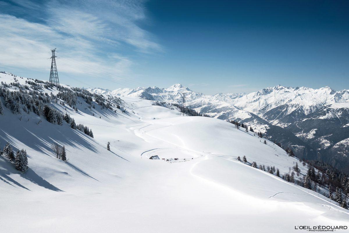 Lac du Bozon Inverno Grand Naves Ski touring Maciço Le Quermoz Beaufortain Savoie Alps Montanha Neve França Alpes franceses Paisagem montanhosa Inverno Neve Ski tour