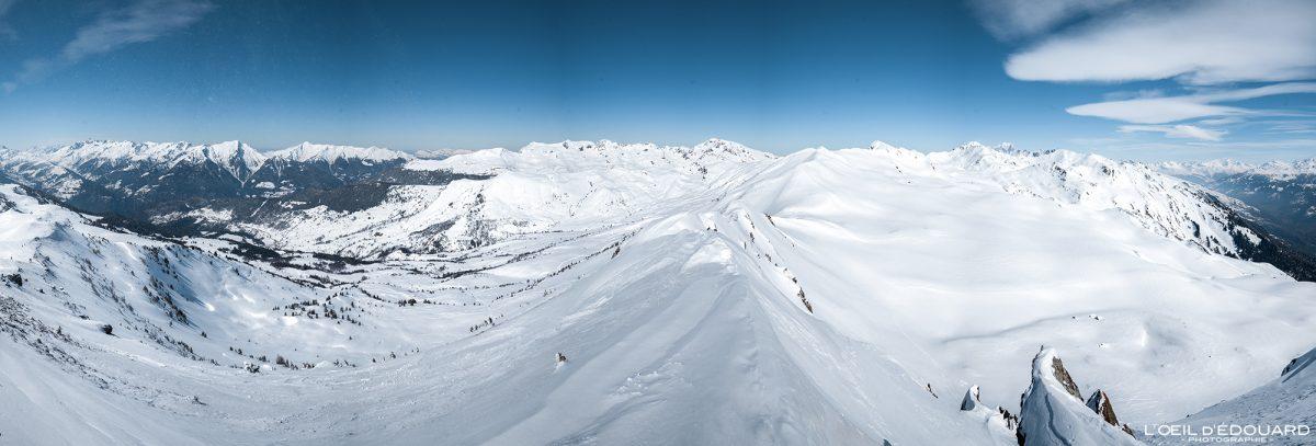 Vista acima Le Quermoz Beaufortain Massif Savoie Alps França Paisagem Montanha Ski Touring Inverno Neve ao ar livre Alpes franceses Paisagem montanhosa Winter Snow Touring Ski touring
