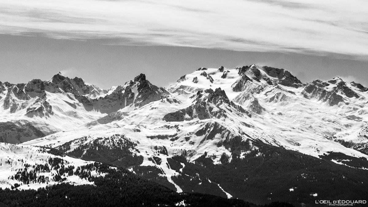 Geleira Gébroulaz vista do maciço de Quermoz Beaufortain Alpes Savoie França Paisagem Montanha Ski Touring Inverno Neve ao ar livre Alpes franceses Paisagem montanhosa Inverno Neve Ski touring