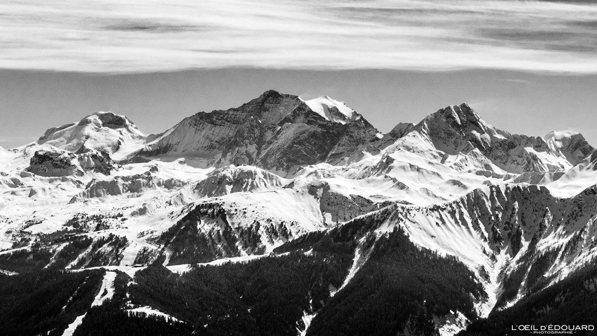 Maciço de Vanoise Vista do Grande Casse de Quermoz Beaufortain maciço Alpes Savoie França Paisagem Montanha Esqui de inverno Neve ao ar livre Alpes franceses Paisagem de montanha Esqui de inverno