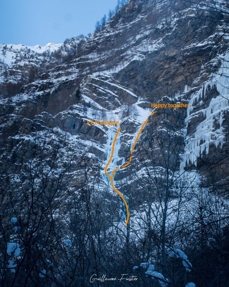 Montanhismo Cascade de Glace Happy Together / Eispokalypse Freyssinière, Tête de Gramusat Maciço des Ecrins Hautes-Alpes França Inverno nas montanhas Escalada no gelo ao ar livre Montanhismo Alpes franceses Inverno nas montanhas
