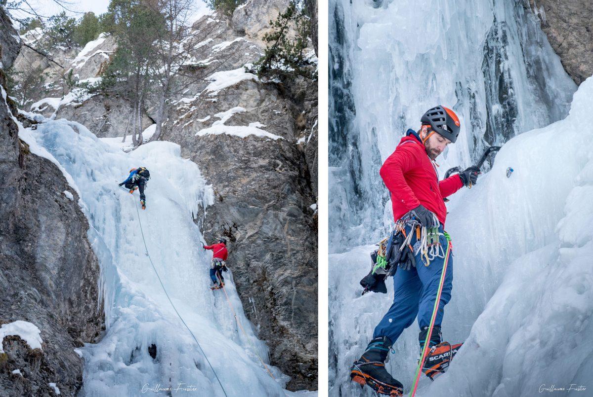 Montanhismo Kaskade de Glace Y de Ceillac Maciço du Queyras Altos Alpes França Montanha Inverno Ao ar livre Escalada no gelo Montanhismo alpino francês Inverno de montanha