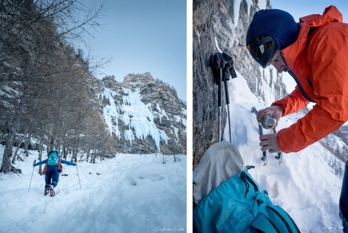 Montanhismo Cascade de Glace Happy Together / Eispokalypse Freyssinière, Tête de Gramusat Maciço dos Ecrins Altos Alpes Alpes França Inverno Ao ar livre Escalada no gelo Montanhismo Montanhas dos Alpes Franceses Inverno