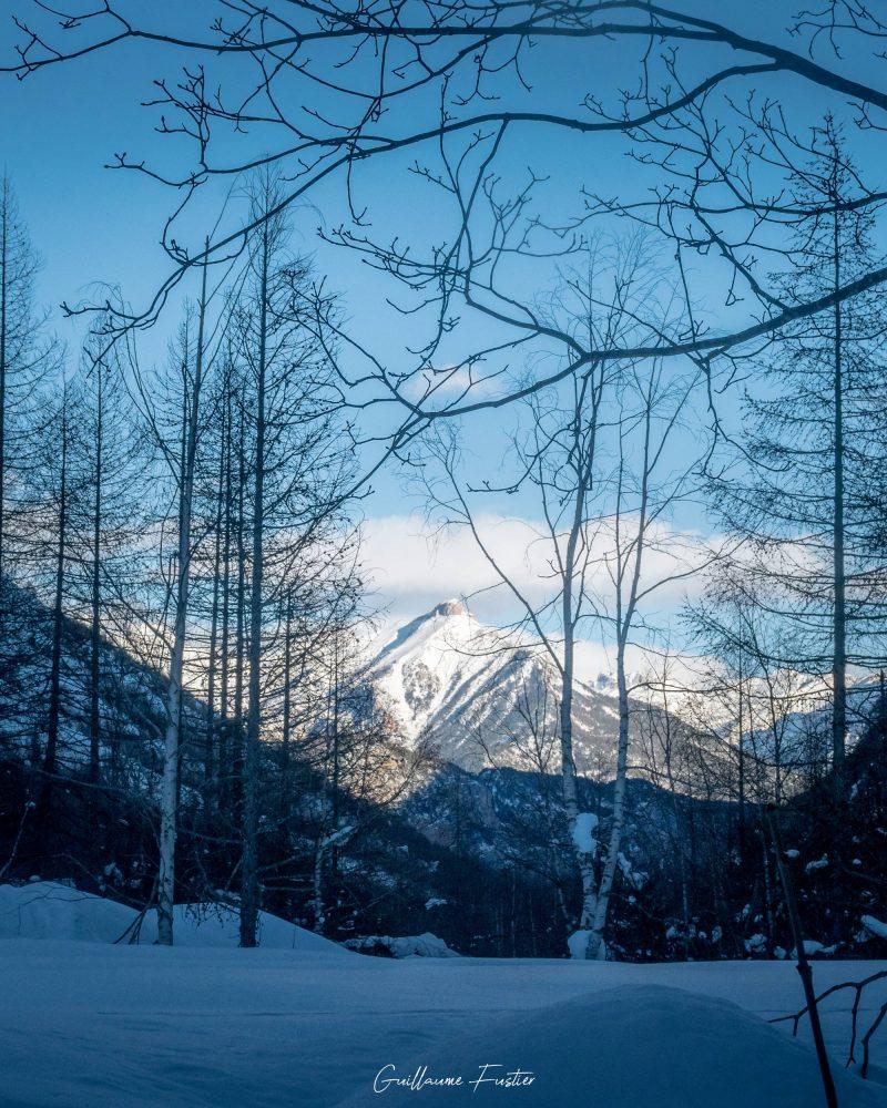 Vallon de Freyssinière, Tête de Gramusat Maciço des Ecrins Hautes-Alpes França Paisagem de inverno Montanha Alpes franceses Paisagem de montanha Inverno