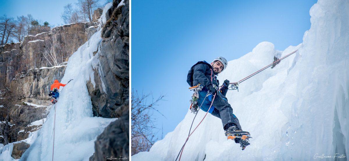 Montanhismo Escalada no Gelo Escalada no Gelo Freyssinière Tête de Gramusat Maciço des Ecrins Altos Alpes Alpes França Inverno nas montanhas Escalada no gelo ao ar livre Montanhismo Alpes franceses Inverno nas montanhas