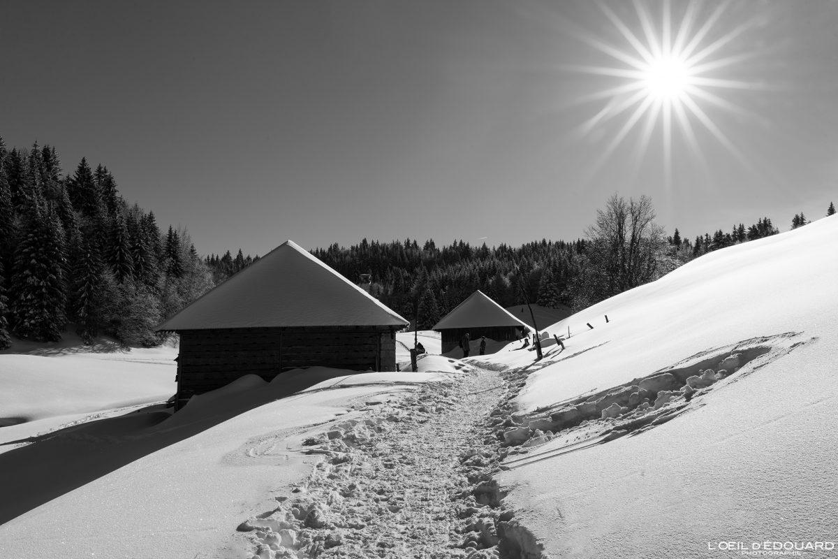 Montanha com raquetes de neve Chalets de Crolles Le Revard Massif des Bauges Alpes Savoie Paisagem Montanha Neve Inverno França Inverno Neve ao ar livre Alpes franceses Paisagem montanhosa