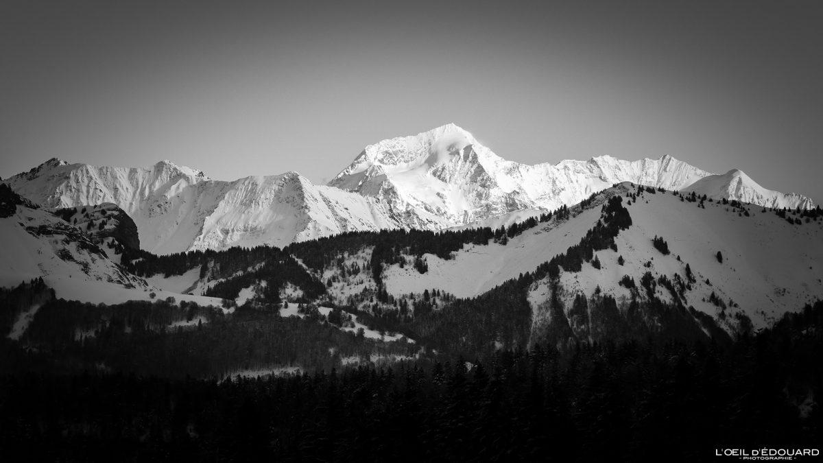 Mont Pourri no inverno da Croix des Bergers Caminhada com raquetes de neve Le Revard Maciço des Bauges Savoie Alpes Paisagem Montanha Neve França Neve ao ar livre Inverno Alpes franceses Paisagem montanhosa