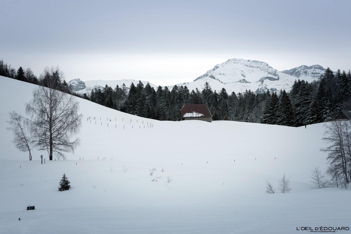 Chalets de Creusâtes Caminhada Sapatos de neve Le Revard Massif des Bauges Alpes Savoie Paisagem Montanha Neve Inverno França Neve Exterior Inverno Alpes franceses Paisagem montanhosa