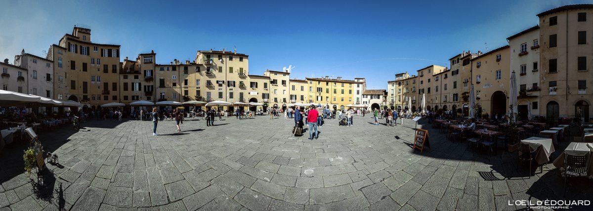Piazza dell'Anfiteatro em Lucca Toscana Itália Viagem Turismo - Piazza dell'Anfiteatro Lucca Toscana Itália Viagem Itália Toscana Praça italiana