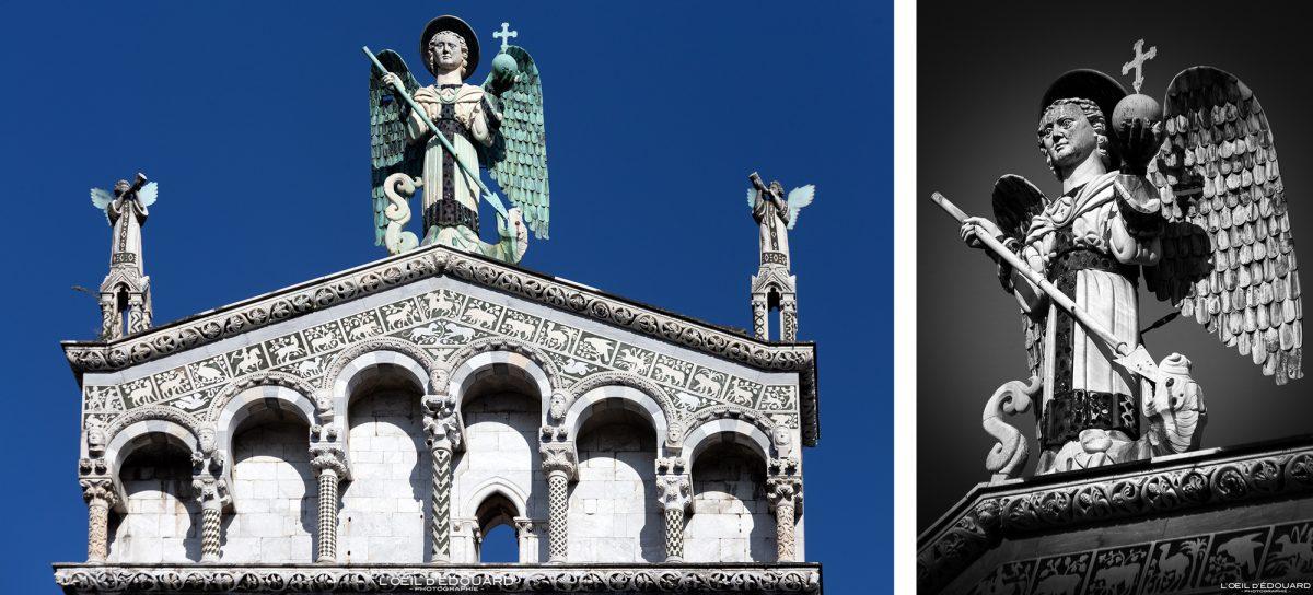 Escultura estátua San Michele matando a igreja do dragão em Lucca Toscana Itália viagens turismo - Igreja San Michele em Foro Lucca Toscana Itália viagens Itália Toscana arquitetura Igreja italiana