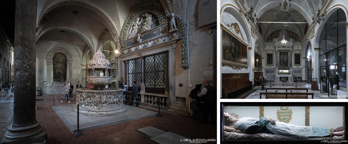 Fonte / corpo batismal da múmia da Basílica de Santa Zita em Lucca Toscana Turismo turístico na Itália - Capela de Santa Zita Basílica de San Frediano Lucca Toscana Itália viajar Itália Toscana Igreja italiana