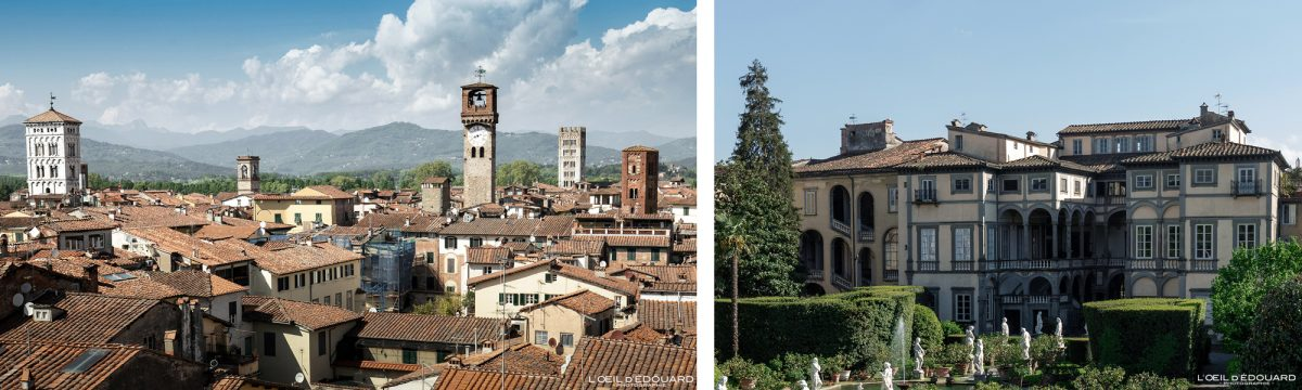 Vista das torres de Lucca Toscana Itália viagens turismo - Torre de Lucca Igreja de Santi Giovanni e Reparata / Museo Palazzo Pfanner Lucca Toscana Itália viagens Itália Toscana Paisagem urbana da igreja italiana