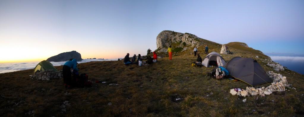 Acampamento no topo do Monte Aiguille.