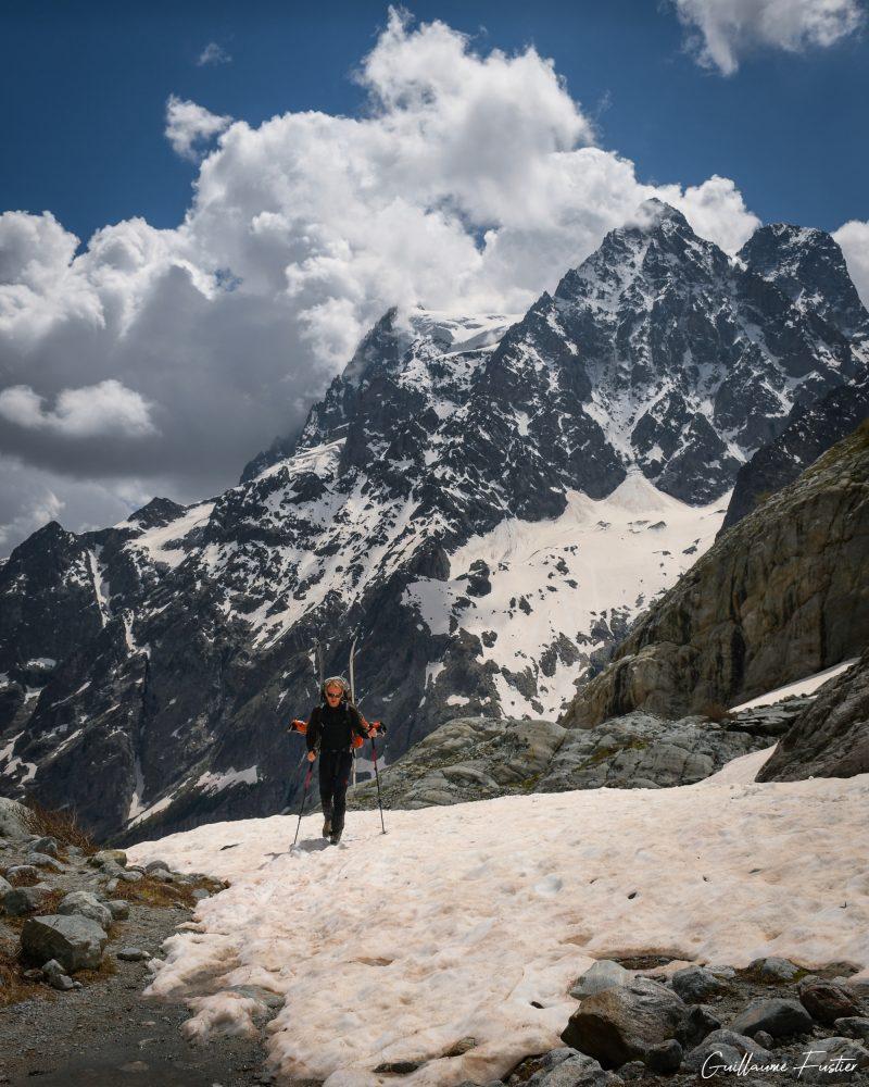 Altos Alpes Aproximação Caminhada Glaciar Blanc Glaciar Altos-Alpes Montanha Neve Paisagem França Montanha Alpes franceses Neve