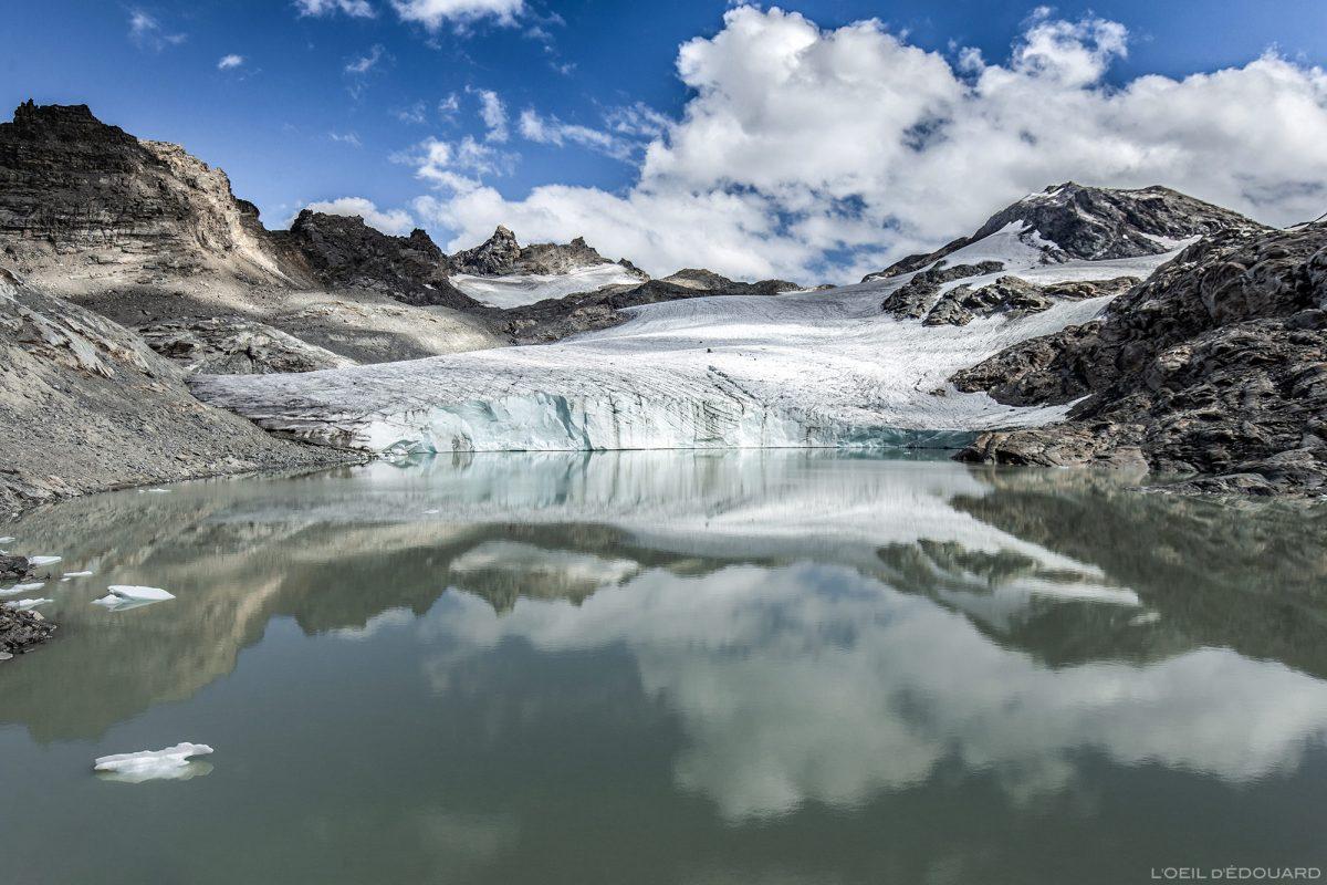 Lago e geleira Grand Méan acima do Cirque des Évettes - Alpes Grées, Haute-Maurienne, Savoie-Alpes © L'Oeil d'Édouard - Todos os direitos reservados
