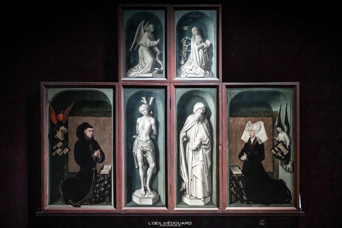 Retábulo Políptico O Último Julgamento Rogier Van der Weyden Hospize de Beaune Borgonha França - Pintura de Belas Artes da Renascença Flamenga