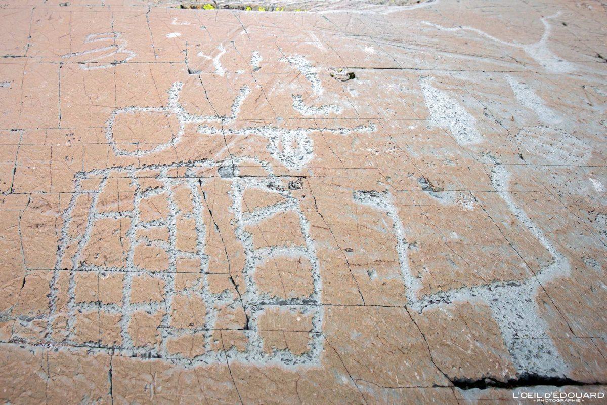Gravura rupestre Roche de l'Eclat Vallée des Merveilles - Maciço du Mercantour Alpes-Maritimes Provença-Alpes-Côte d'Azur / Arqueologia Pré-história Arte pré-histórica Montanhas Pedregulhos de montanha ao ar livre