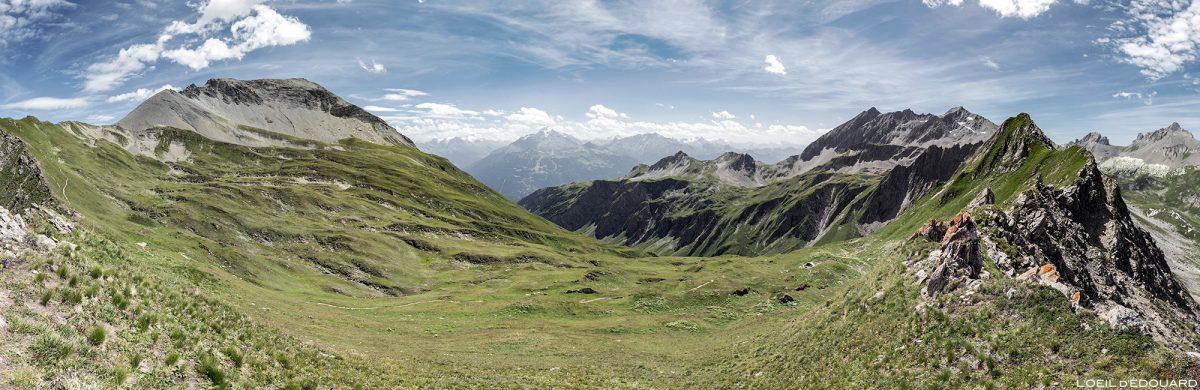 Pointe de la Terrasse, Vallon du Chardonnet, Rognais vom Passeur de Pralognan, montanha Beaufortain Savoie Landscape Alps