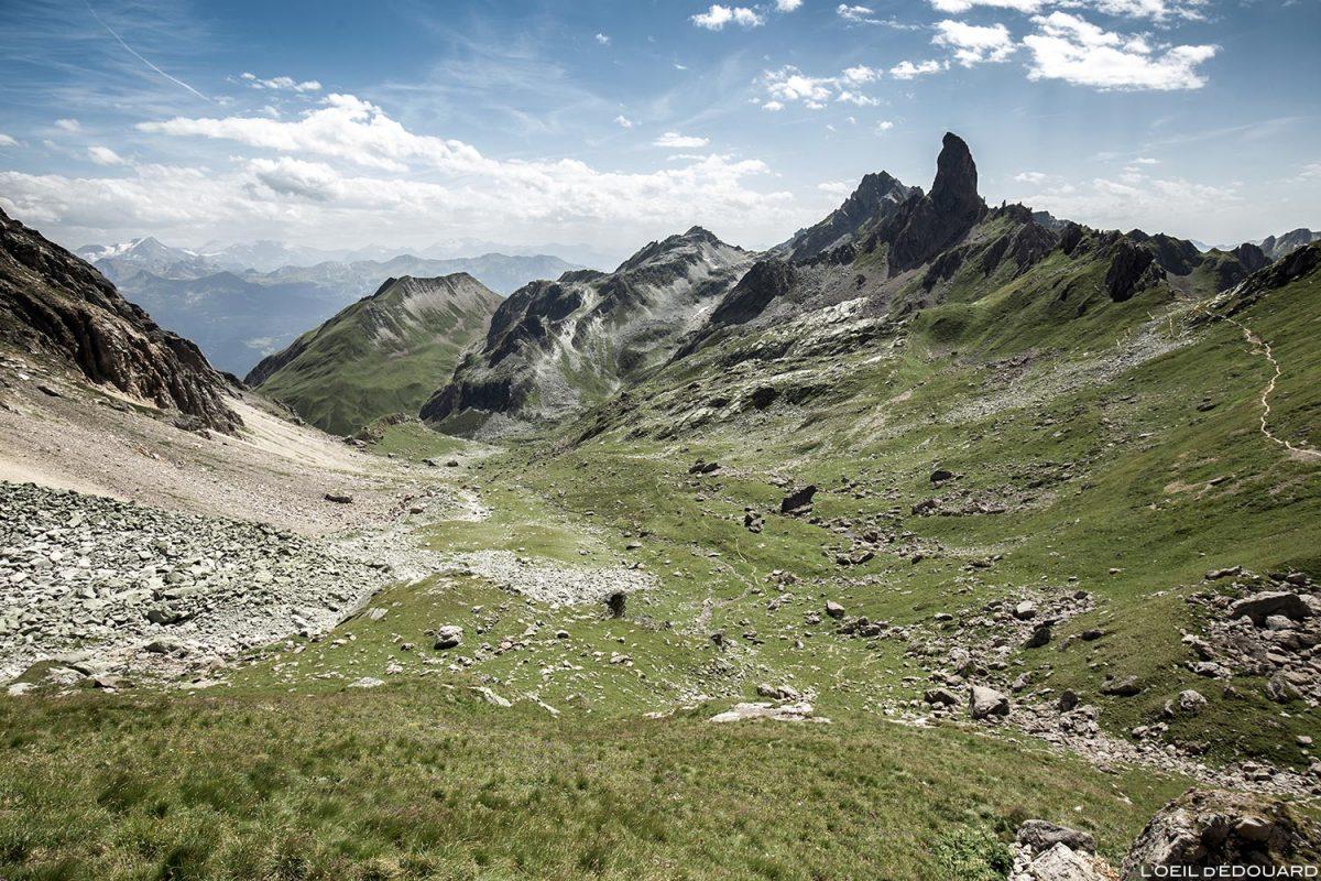 Vista do Balme com Pierra Menta do Refuge de Presset, paisagem montanhosa dos Alpes Le Beaufortain Savoie