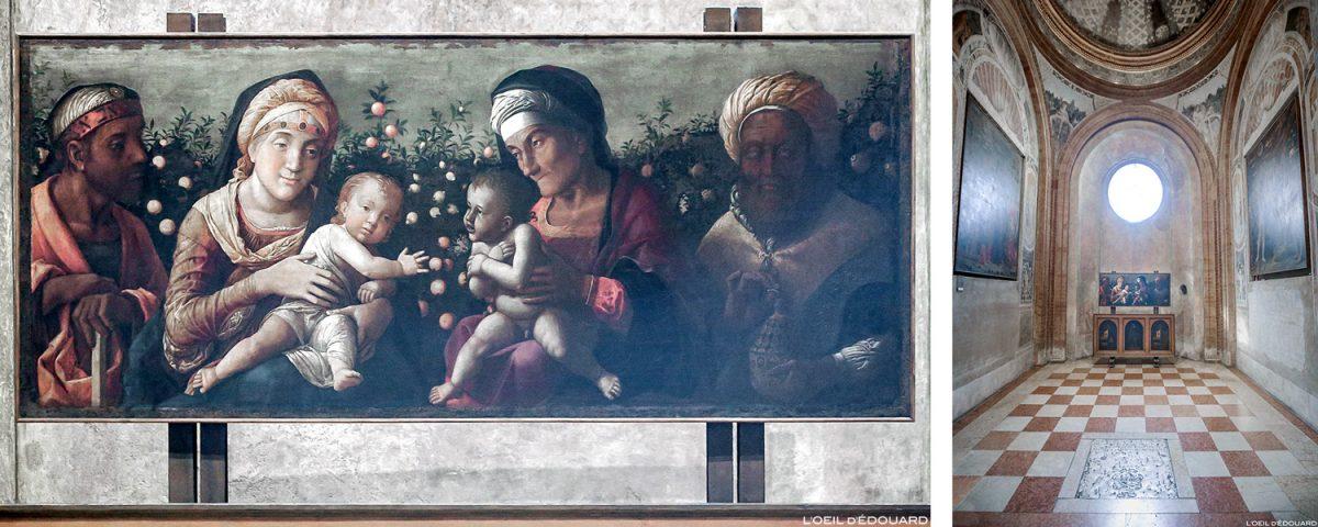 A Sagrada Família e São João Batista (1504-1506) Andrea Mantegna, Capela Mantegna, Basílica de Sant'Andrea, Mântua Itália / Sagrada Família e Família do Batista, Capella Mategna, Basílica Igreja de Sant'Andrea, Mântua Itália / Pintura pintura renascentista