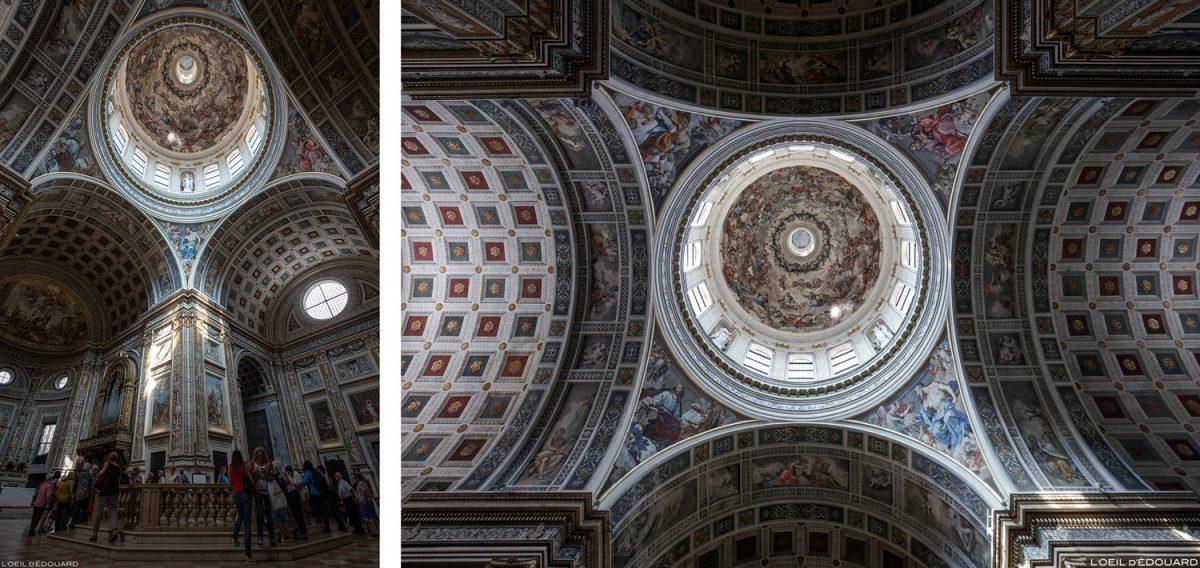 Teto, forma trompe-l'oeil da abóbada do transepto e cúpula da Basílica de Sant'Andrea, Mântua Itália - Igreja Basilika di Sant'Andrea, Igreja Mântua Itália / arquitetura barroca Léon Battista Alberti