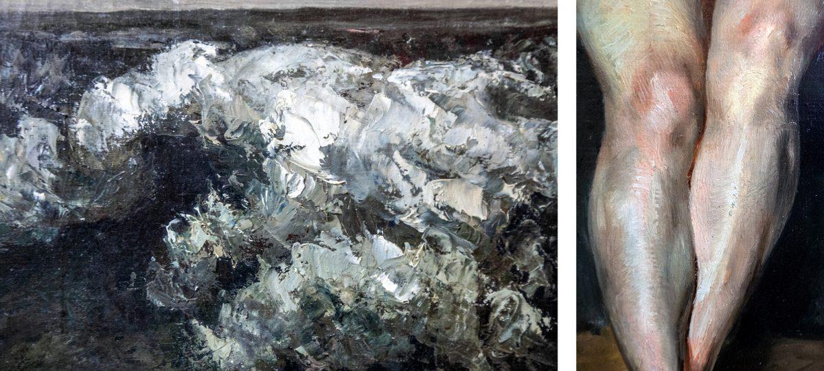 Antiga Galeria Nacional: A Onda (detalhe) (1870) Gustave Courbet / Nu Sentado (Mademoiselle Rose) (1820-21) Eugène Delacroix - Ilha dos Museus de Berlim Alemanha / Ilha dos Museus Alemanha Alemanha Pinturas